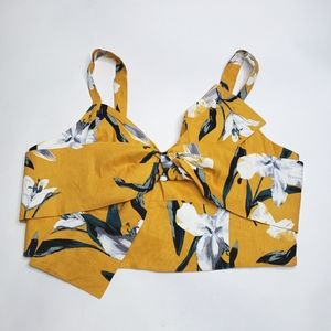 Leith twisted sculpture floral crop top